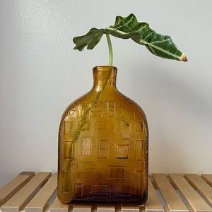 Vintage Italian MCM amber glass bottle decor vase